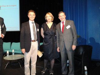 Avec Marie-Anne Montchamp, Secrétaire d'Etat, et Jean-Yves Cousin, Député de Vire, aux rencontres régionales de Caen sur la dépendance