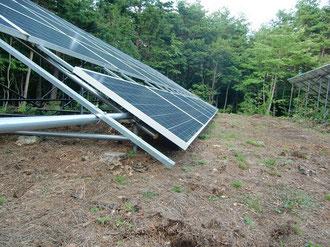かさ上げ作業を計画している下段部分の太陽光パネル