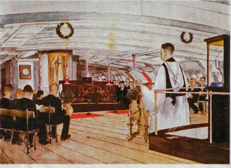 A WATER COLOUR, BY CAPTAIN G.A.B. KING ©, OF THE LAST CAROL SERVICE ON BOARD.