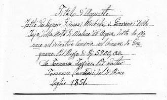 Frontespizio dell'Atto del Titolo di Acquisto - Rogito Notaio Tommaso Lombardi - Gragnano 1 luglio 1851