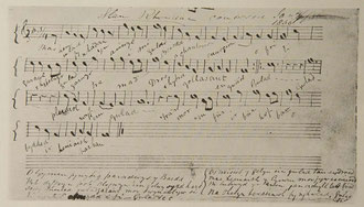 Handwritten sheet music of Welsh National Anthem by James James / courtesy of National Library Wales