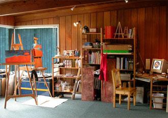 Richard Hoedl's Art Studio showing works in progress