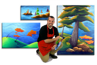 Richard Hoedl with some original Landscape Paintings