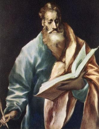 """El Greco (1541, Candia - 1614, Toledo), """"San Matteo Evangelista Apostolo"""", 1610-14, Olio su tela, 97 x 77 cm, Museo de El Greco, Toledo"""