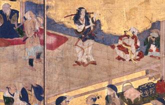 京都四条河原で歌舞伎踊りを演じる出雲阿国