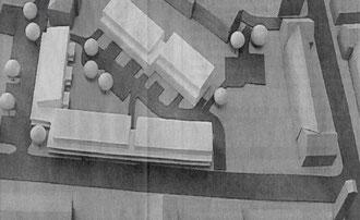 Gegenüber von St. Peter in der Karolinger Straße soll ein wegweisendes Wohnungsbauprojekt entstehen.