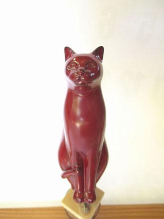 乾漆の猫2 朱漆の中塗り