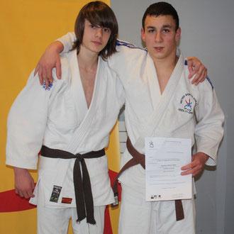 Simon JEHAN(-50kg)  et Quentin BODDAERT (-73 kg à droite)