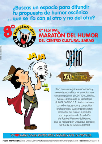 """Afiche de la Convocatoria 2013 del Festival """"Maratón del Humor"""" 2013. Diseño de Eduardo Correa."""