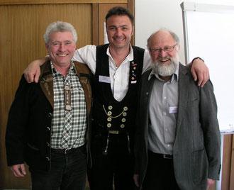 v.l.nr. Bruno Kaiser, Obermeister Christian Denz und Berthold Bühler
