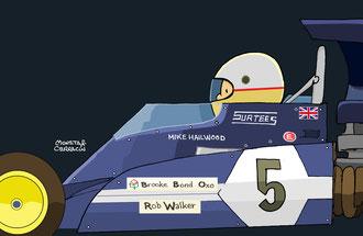 Mike Hailwood by Muneta & Cerracín -  escudería Brooke Bond Oxo Team Surtees