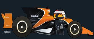 Stoffel Vandoorne con un McLaren MCL32 - Honda RA617H by Muneta & Cerracín