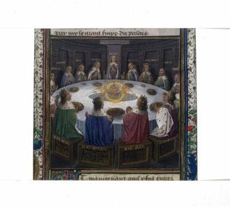 Apparition du Graal à la Table Ronde. Les noms des chevaliers qui siègent à la table sont gravés au dos de leur siège