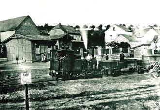 """Bf Steeden um 1900 mit Lok3 """"Dachs"""""""