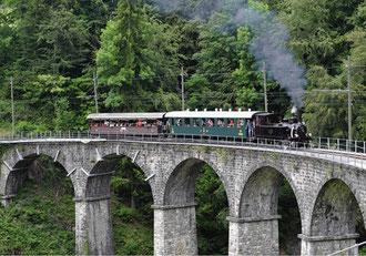 Die Museumsbahn Blonay – Chamby liegt im Kanton Waadt, oberhalb der Städte Vevey und Montreux.