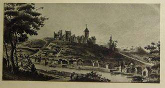 Alte Ansicht von Altena mit der Burg