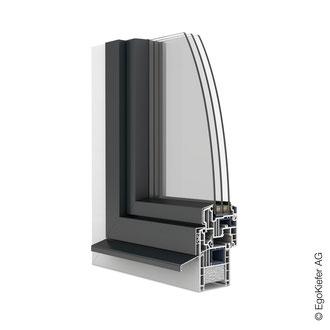 Kunststoff/Aluminium-Fenster EgoOne halbflächenversetzt