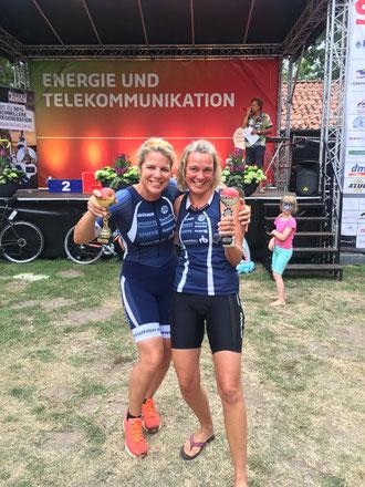 Sicherten sich in der Damenkonkurrenz jeweils einen Platz auf dem Siegertreppchen: Anja Plasger und Kristiane Liebau