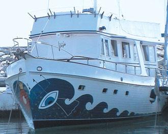 Kunst-Schiff im Mittelmeer