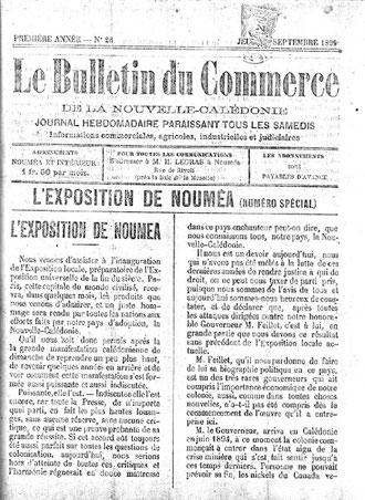 Le Bulletin du Commerce de la Nouvelle-Calédonie (22 septembre 1899)