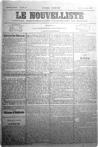 LE NOUVELLISTE  (5 Janvier 1884)