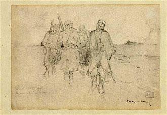 Fismes, 1914, retour au camp. Fusain de Léon Espérance Broquet