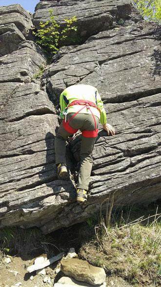 三点支持による岩登り