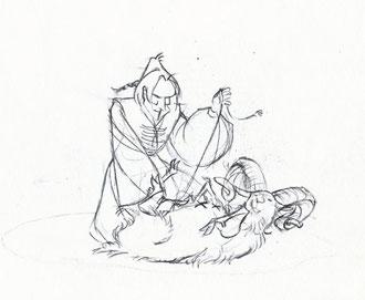 Crayonné du chevalier Krak recousant la peau de bouc.