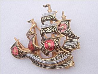 Брошь -Пиратский корабль-. Дамасскин