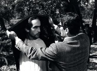 Irazoqui y Pasolini durante el rodaje.