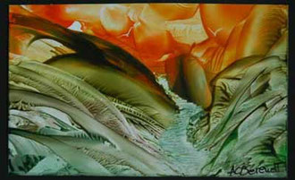 Rushing Stream - Encaustic Wax Painting - by Anne Berendt