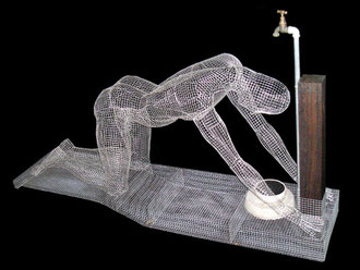 The Supplicant. 2004. Wire mesh, concrete, red gum, plastic, steel. 120 x 210 x 50cm. Owned by the artist. © Charles Rocco