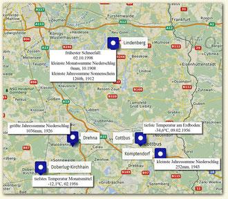 einige Wetterextreme des südlichen Brandenburgs (Karte: Openstreetmap.org, Daten: DWD)