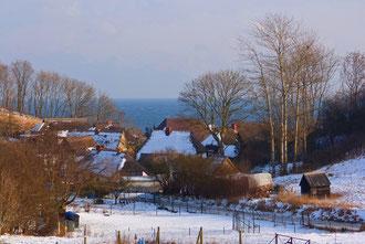 Das Fischerdorf Vitt in der Uferschlucht (sog. Liete)