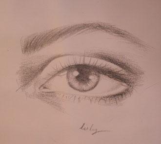 Fertig ist das Auge in Bleistifttechnik