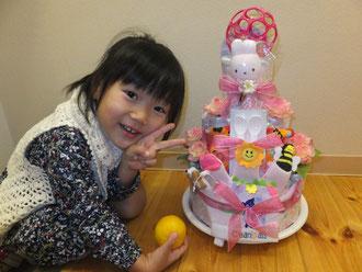 4歳の子供とおむつケーキ