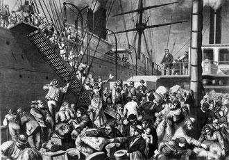 Emigranten gehen an Bord eines in die USA fahrenden Dampfers (um 1850)