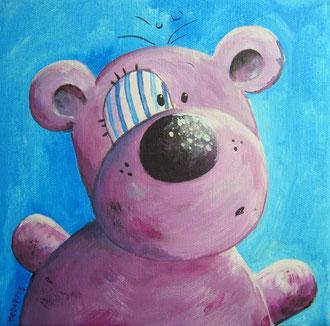 Violetti Teddy, Teddykopf, Teddybild, Teddy Kunstwerk
