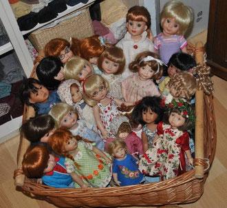 A basket full of dolls