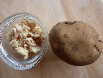 搾っただけの味付けなしのオカラ(左)、キタアカリ(右)