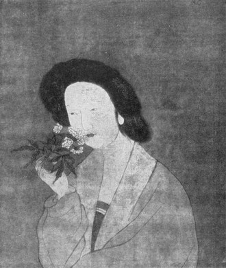 Beauty inhaling the Fragrance of a Peony. Ming Period.