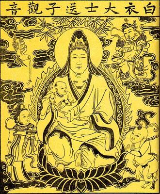 'Tche-ma' de Koan-yng aux habits blancs, brûlé en son honneur pour obtenir des enfants