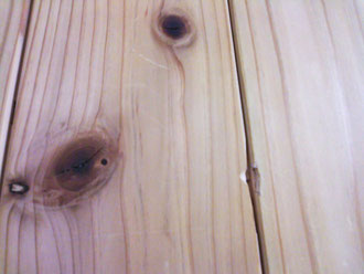 冬の杉の木の床