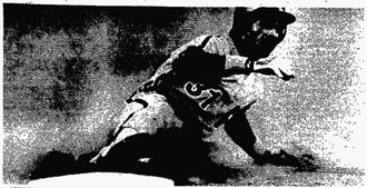 Garry Maddox slides into third on a wild pitch in the sixth inning.