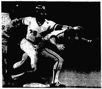 Larry Bowa tags out the Reds' Dave Collins trying to steal.