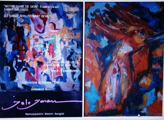 """Le catalogue face et dos de l'expo.retrospective de ma mère, """"Jale Yasan""""."""