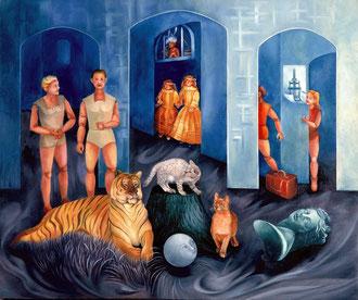 """LE SALON ANIMALIER L'intérieur de l'Atelier par """"Fitnat"""".Huile sur Toile 65 x 54 cm."""