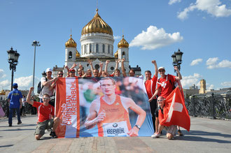 TV Oerlikon & CKR-Fanclub vor der Erlöser Kirche in Moskau