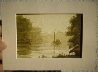 Flussfahrt mit historischem Boot (Aquarell, 13 x 18 cm, Bildausschnitt 12,2 x 8,2 cm)