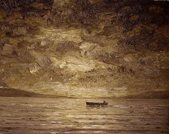 Fischerboot (Öl auf Leinwamd, ca. 8 x 10 cm, verkauft)